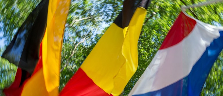 flags Netherlands, Belgium and Germany